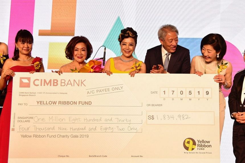 (From left) Ms Ng Jiak See, Ms Lotus Soh, Ms Grace Yeh, Senior Minister Teo Chee Hean and Chairman of Yellow Ribbon Fund Mrs Wong Ai Ai at the cheque presentation during the Yellow Ribbon Fund (YRF) Charity Gala Dinner 2019 on May 17, 2019.