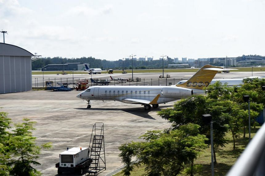 A Bombardier Global 5000 without a body number parked at Seletar Airport in February 2017.
