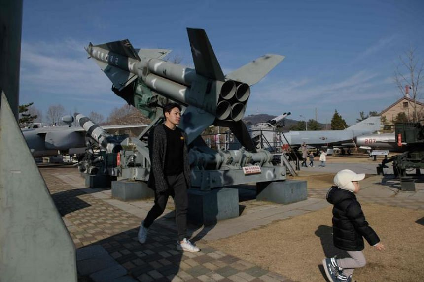 Korean War-era mock missiles at the War Museum in Seoul. South Korea had asked to buy up to 94 SM-2 missiles, used by ships against air threats, from the US.