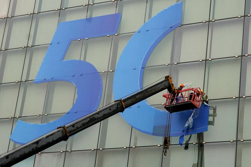 A sign for 5G seen in Shanghai on April 25, 2019. China said earlier that it was considering a pre-commercial launch of 5G this year, followed by large-scale commercialisation in 2020.