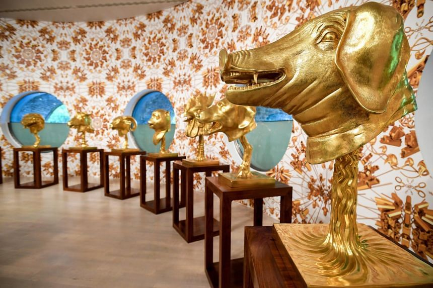 Circle of Animals by Chinese artist Ai Weiwei on display during his exhibition, the largest to date in Europe.