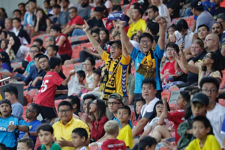 Tampines Rovers' fans cheering during the Singapore Premier League match against Home United at Our Tampines Hub, on Sept 29, 2018.