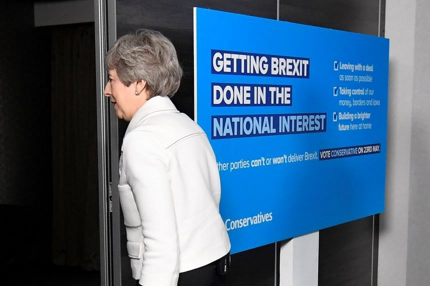 "British Premier Theresa May leaving a European Parliament election campaign event in Bristol on Friday. Labour leader Jeremy Corbyn wrote to her yesterday telling her that the Brexit talks had ""gone as far as they can""."