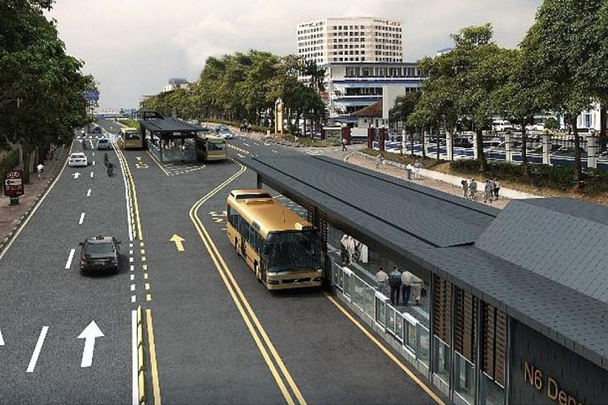An artist's impression of a Bus Rapid Transit (BRT) station. When the BRT is ready, there will be 39 stations, including stops at Larkin and Bukit Chagar near the Causeway. PHOTO: ISKANDAR REGIONAL DEVELOPMENT AUTHORITY
