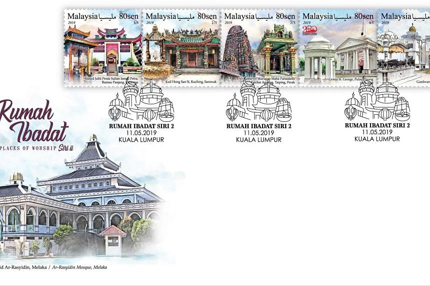 The stamp bearing the St George's Church in Penang is part of a new series of five stamps featuring landmark buildings of the five main religions in Malaysia.