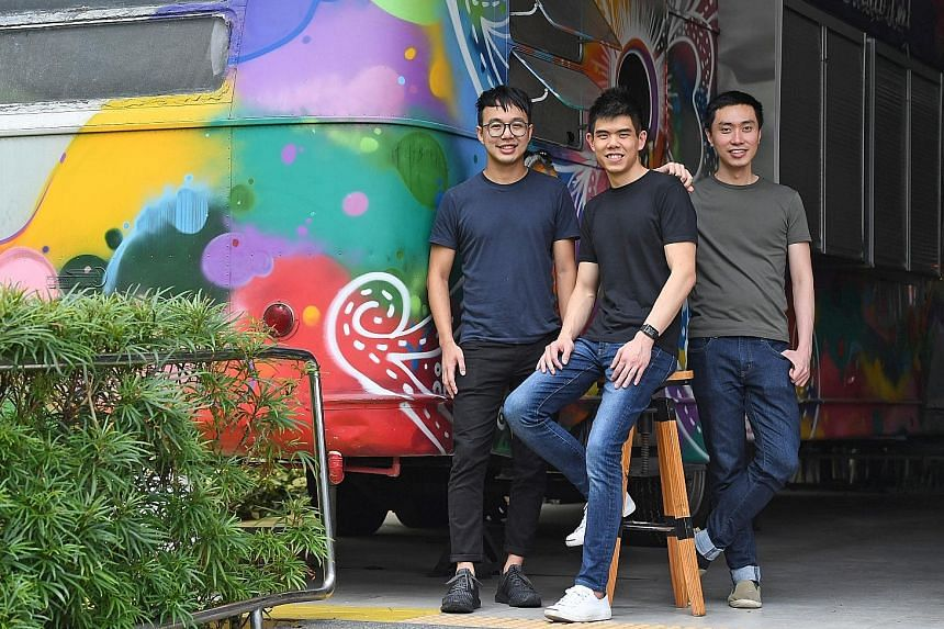 In 2012, three friends (from left) Marcus Tan, Quek Siu Rui and Lucas Ngoo launched the Carousell app, which allows users to buy and sell on their smartphone things they no longer want. Carousell has a presence in seven markets across Asia, and gets