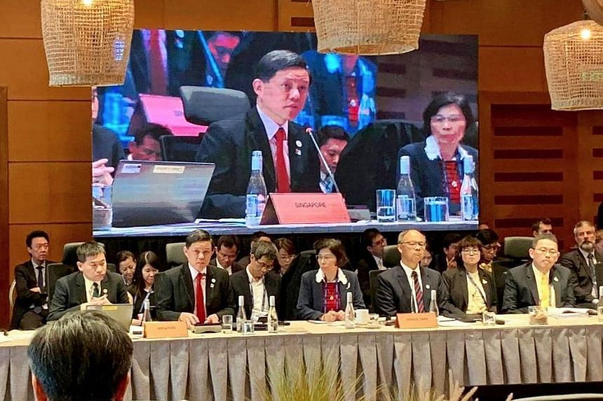 Minister Chan Chun Sing (second from left) at the Apec Ministers Responsible for Trade (MRT) Meeting in Chile on Friday.