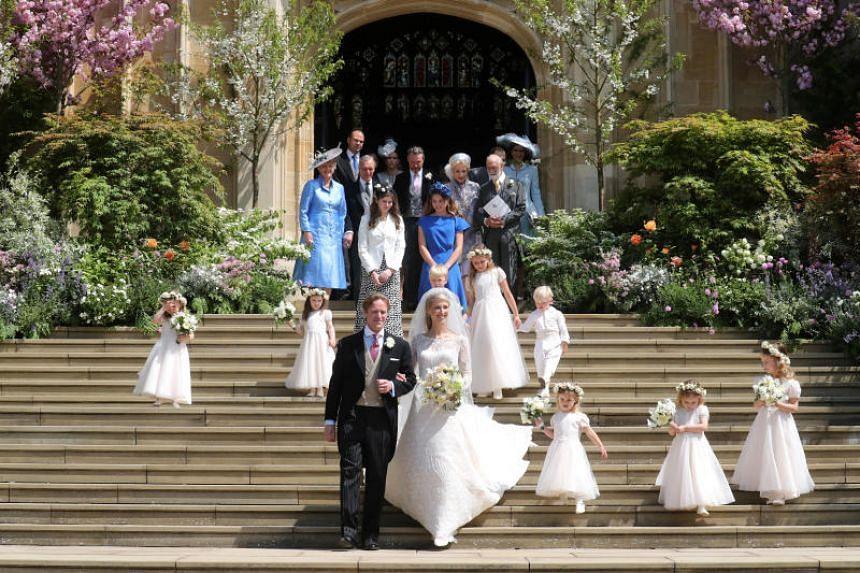 Lady Gabriella Windsor married financier Thomas Kingston in Saint George's Chapel at the historic castle, west of London.