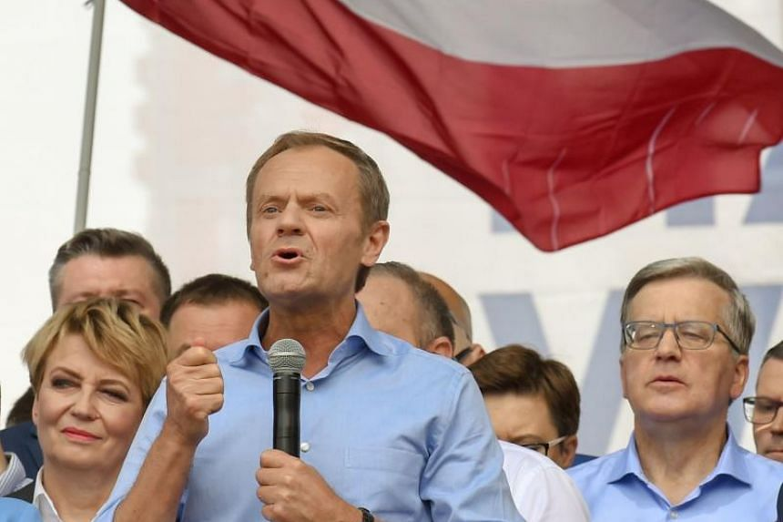 European Council chief Donald Tusk compared his arch-rival and PiS leader Jaroslaw Kaczynski to an ayatollah during the rally attended by Poles from across the country.