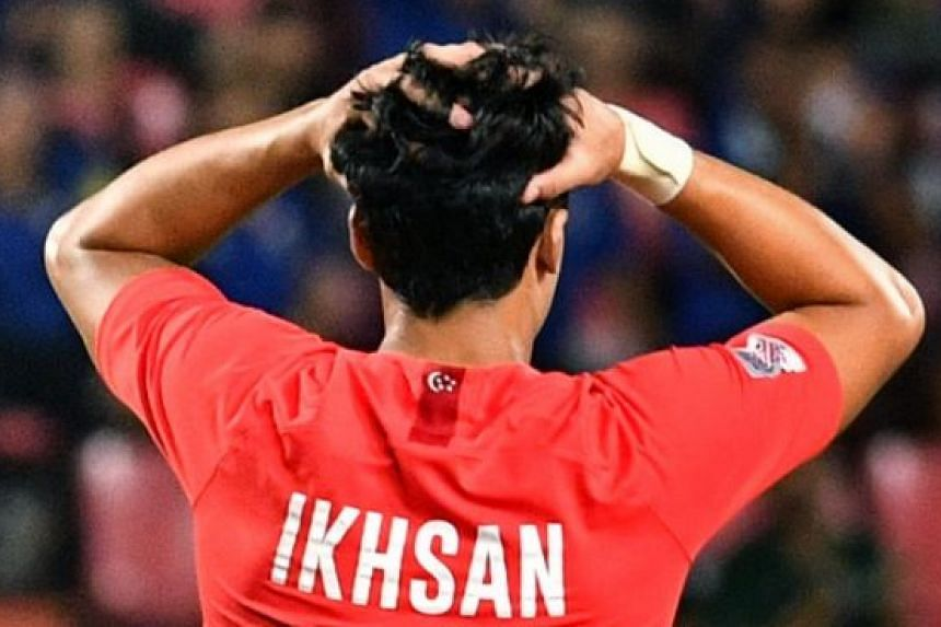Ikhsan Fandi reacting after a 3-0 defeat in Thailand as Singapore crashed out of the AFF Suzuki Cup last November.