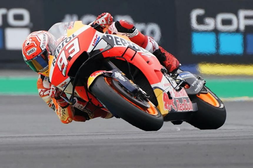 Honda's world champion Marc Marquez cruised to victory in 41 minutes, 53.647 seconds to reach 95 points for the season.