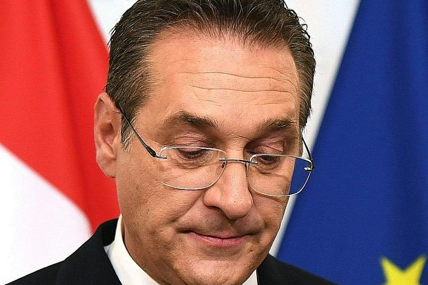 Vice-Chancellor Heinz-Christian Strache resigned after the sting video was released. PHOTO: DPA Austrian President Alexander Van der Bellen (left) and Chancellor Sebastian Kurz delivered a press statement after their meeting yesterday morning. Mr Van