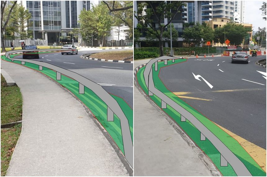 A mockup of vehicular impact guardrails on the perimeter of the roundabout next to the footpath, which the Land Transport Authority will be adding after appeals from residents in the area for safer roads.