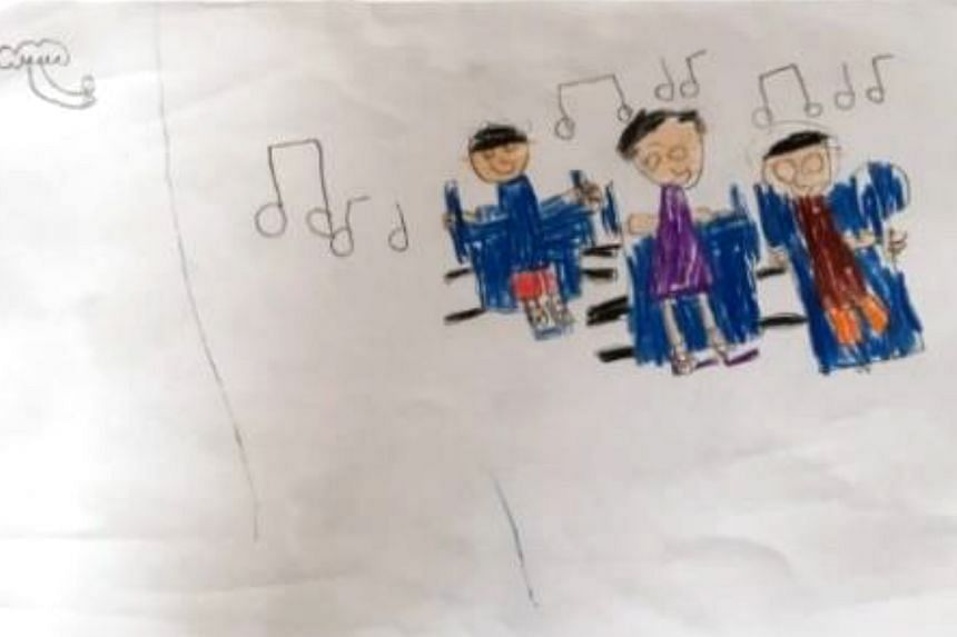 A five-year-old child drew a lone figure (left) when asked what came to mind when thinking about the elderly. After months of interacting with seniors from a nursing home, the same child drew them singing together (below). PHOTOS: MY FIRST SKOOL AND
