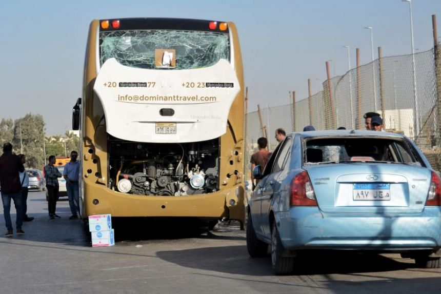 A rudimentary device containing nails and pieces of metal detonated on the perimeter of the Grand Egyptian Museum near a bus carrying 25 South African tourists from the airport to the pyramids district.