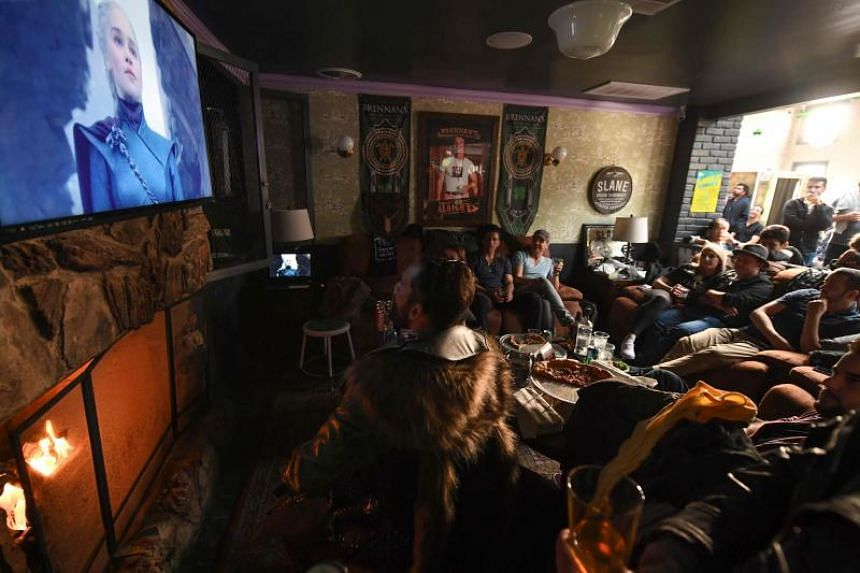 Game Of Thrones fans watching the series finale at a viewing party at Brennan's bar in Marina del Rey, California, on May 19, 2019.