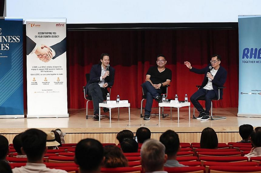 From left: Luxasia group CEO Wolfgang Baier, Razer chief strategy officer Lee Li Meng, and Unbroken Branding principal consultant Jacky Tai at last Friday's seminar on game-changers. They discussed how start-ups should utilise their resources to brin