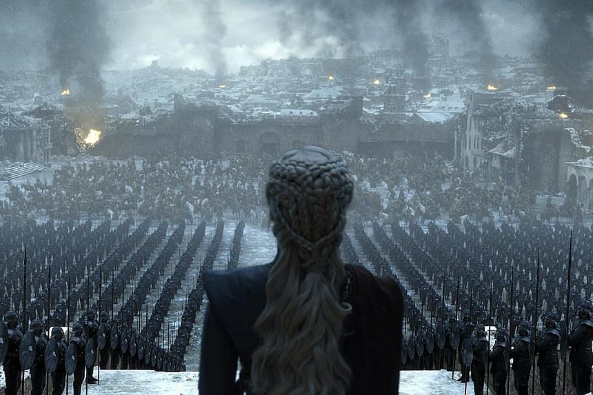 A screenshot from Game Of Thrones' Season 8 finale, which hit screens in Singapore yesterday. In the US, a record 43 million viewers on average tuned in for the final season, compared with 33 million for Season 7 in 2017.