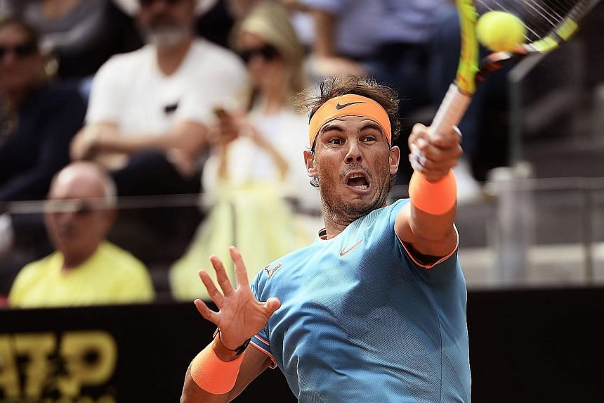 Rafael Nadal returning to Novak Djokovic in the Rome Masters final at the Foro Italico on Sunday. The victory edges the Spaniard ahead in Masters titles and he is excited to play in the new centre court at Roland Garros next week.