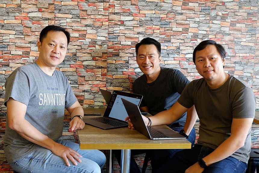 Doxa Holdings' co-founders (from left) Henry Kwan, Leon Yeo and Edmund Ng, who are all fathers, work from home.