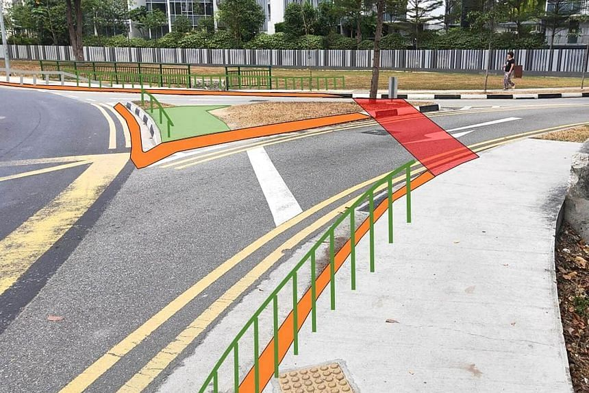 The carriageway entering from Marine Parade Road into the roundabout will be realigned to introduce tighter turning angles that lower vehicle speeds. A mock-up showing vehicular impact guardrails that will be installed on the perimeter of the roundab