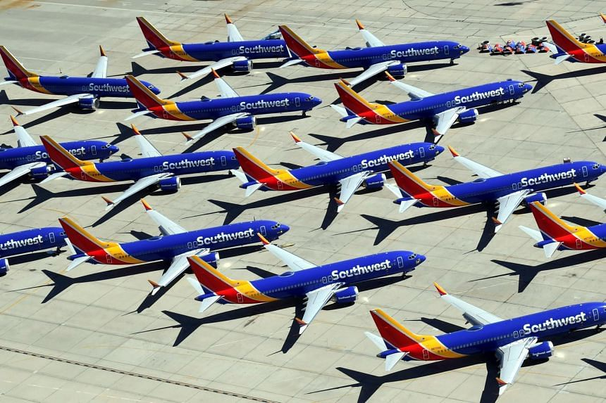 Southwest Airlines Boeing 737 Max aircraft on the tarmac after being grounded, at the Southern California Logistics Airport in Victorville, California on March 28, 2019.