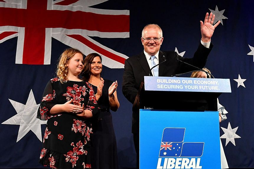 Australian Prime Minister Scott Morrison (right) with family members after winning election, in Sydney, Australia, on May 18, 2019.