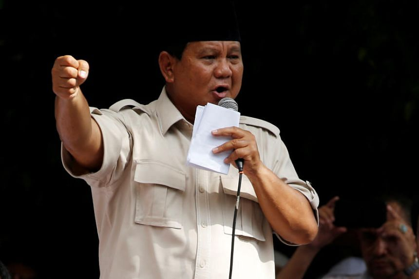 Indonesian presidential candidate Prabowo Subianto speaks to his supporters in Jakarta, Indonesia, April 19, 2019.