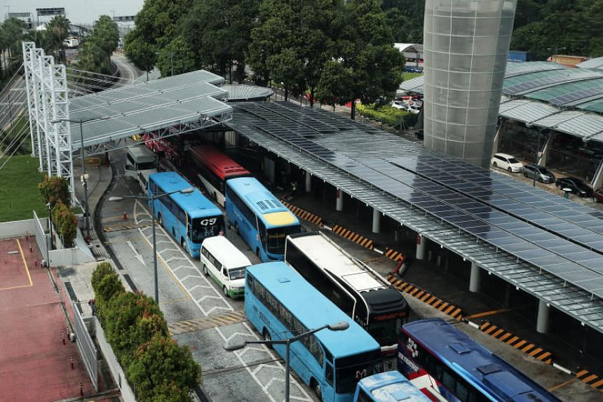 Buses at Woodlands checkpoint, on April 12, 2019. A woman was pronounced dead at Woodlands Checkpoint on Monday night (May 20), following an accident.