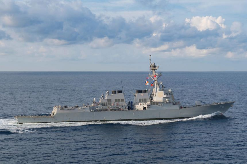 The USS Preble transits in the the Indian Ocean on March 29, 2018.