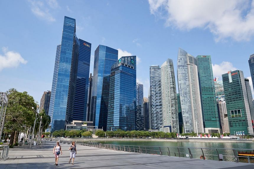 Skyscrapers in Singapore's Central Business District, as seen from the Marina Bay Sands promenade.