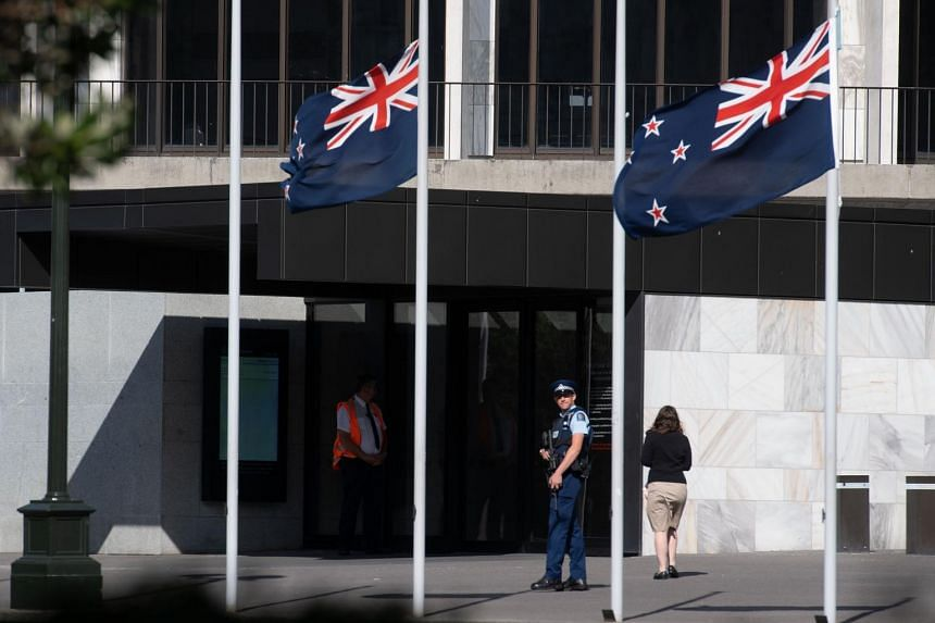 A police officer patrols outside New Zealand's Parliament in Wellington on March 25, 2019. Seventy-eight per cent of those surveyed said they experienced unreasonable or aggressive behaviour that threatened or intimidated them.