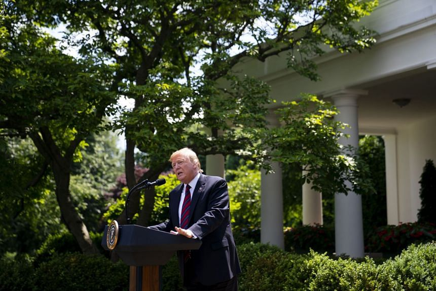 President Donald Trump delivers remarks on in the Rose Garden of the White House in Washington, May 16, 2019.