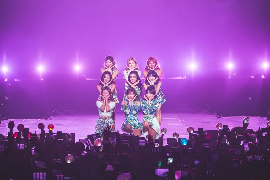 South Korean girl group Twice performing at the Singapore Indoor Stadium on June 17, 2018.