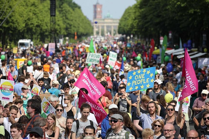 People taking part in a pro-Europe demonstration in Berlin on Sunday ahead of the upcoming European Parliament elections.