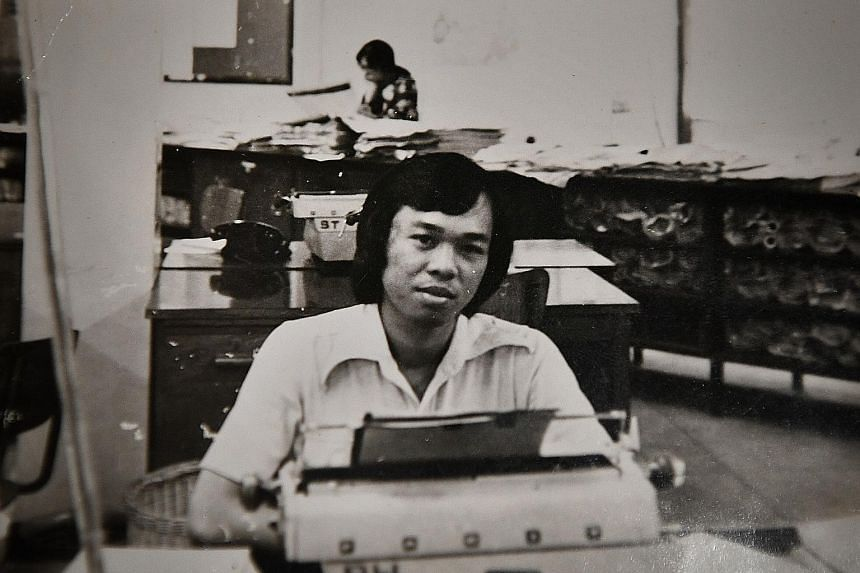 Mr Salim Osman using a manual typewriter some time in 1973, in his early years as a reporter in Berita Harian. Retired journalist Salim Osman reflects on his life and career, highlighted by events such as meeting the woman who would become his wife a
