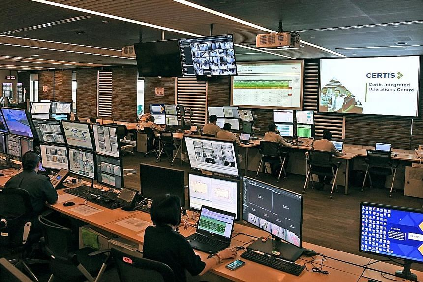 At the Certis Integrated Operations Centre at Changi Airport, thousands of cameras help staff monitor the passenger terminals, airport perimeter and Airport Boulevard. The firm is also looking into the feasibility of body-worn cameras for ground staf