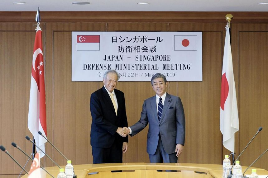 Singapore's Defence Minister Ng Eng Hen (left) and Japanese counterpart Takeshi Iwaya exchanged views on North Korea, including ongoing efforts to deter illegal ship-to-ship transfers, as well as the South China Sea.