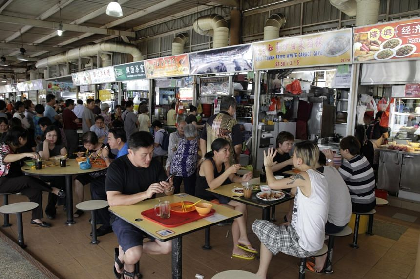 A view of the hawker centre at Block 505, Jurong West Street 52.