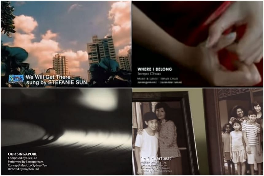 Screengrabs from the music videos for various NDP songs: (Clockwise from top left) We Will Get There (2002), Where I Belong (2001), In a Heartbeat (2011), Our Singapore (2019).