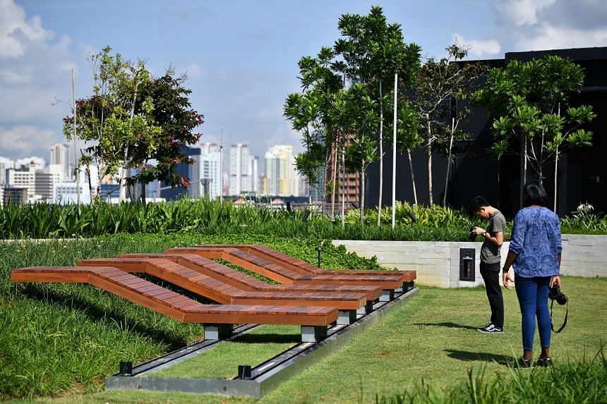 Deck chairs at the rooftop garden, which offers visitors a view of Marina Bay and Fort Canning from either end of the building.