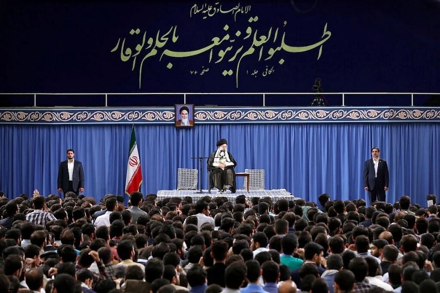 Iran's Supreme Leader Ayatollah Ali Khamenei speaks during his meeting with a group of University students in Tehran, Iran, May 22, 2019.