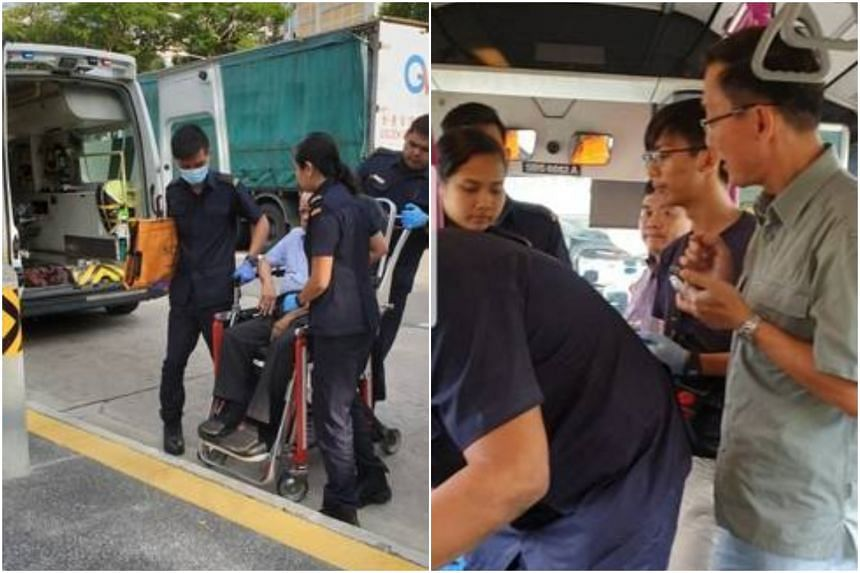 (Left) SCDF officers assisting the 84-year-old man who was injured after the SBS Transit bus braked suddenly. (Right) A commuter Steven and his son Dillon had stayed to help the man and carry out first aid.