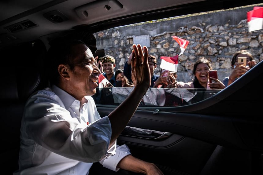 President Joko Widodo of Indonesia tours a development project in Kutuh, a village on Bali, on May 17, 2019.