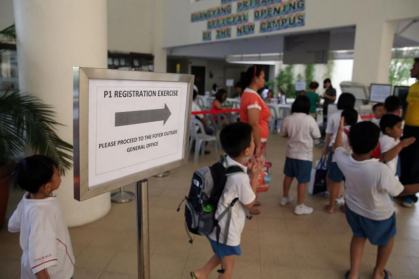 Children attending the Primary 1 registration exercise at Guangyang Primary School.
