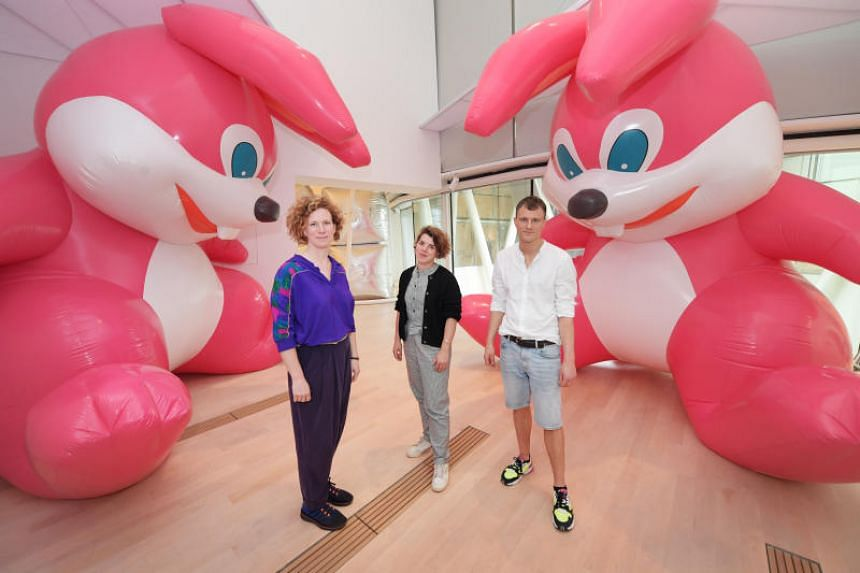The Floating Utopias exhibition at the ArtScience Museum is curated by (from left) Anna Hoetjes, Fabiola Bierhoff and Artúr van Balen from the Floating Utopias Foundation, a collective started in Amsterdam by a group of artists and curators.