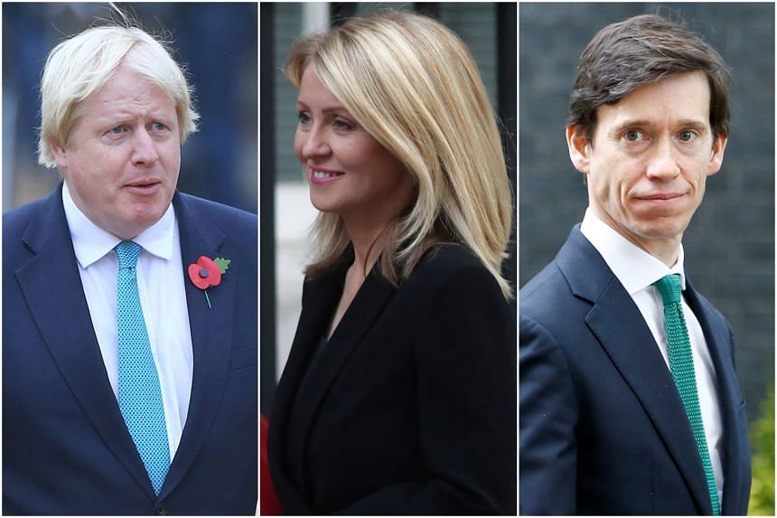 (From left) Britain's former foreign minister Boris Johnson, former Secretary of State for Work and Pensions Esther McVey and Secretary of State for International Development Rory Stewart have said they plan to put themselves forward for the leadersh