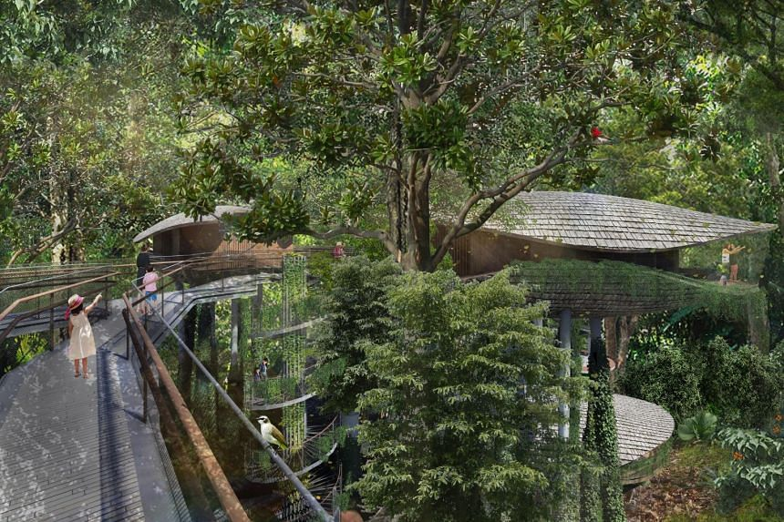 An architectural illustration of an elevated walkway at the resort.