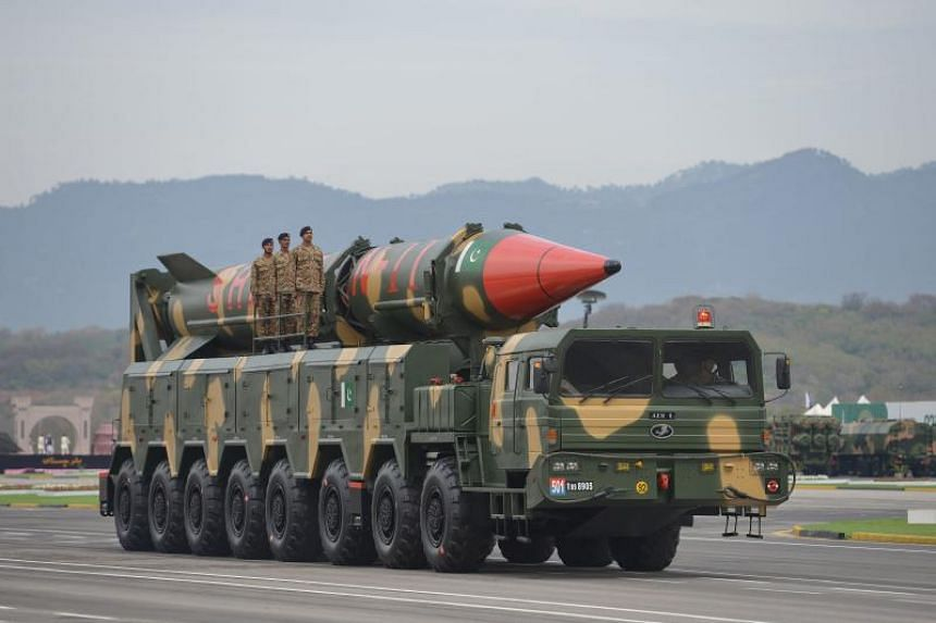 A long-range ballistic Shaheen II missile during the Pakistan Day parade in Islamabad on March 23, 2019. Pakistan said the missile is capable of delivering conventional and nuclear weapons at a range of up to 2,400km.