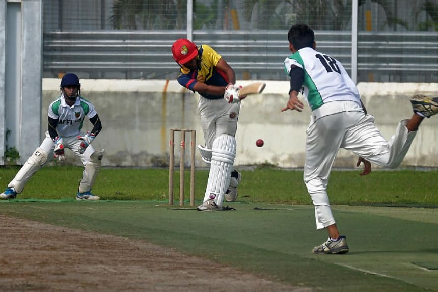 Anglo-Chinese School (Independent) batsman Sai Harsha making a shot during the Schools National A Division boys' cricket final against Raffles Institution on May 23, 2019 at Ceylon Sports Club.